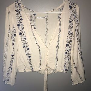 Off White and Navy Blue Button up Blouse